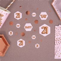 Glitz & Glamour Pink & Rose Gold Confetti Scatters 21st (100)